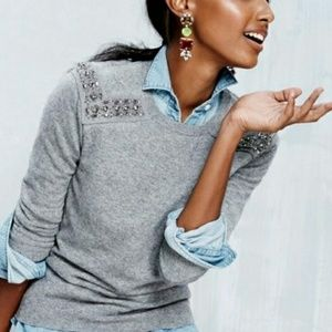 J Crew Jeweled Shoulder Sweater Cashmere